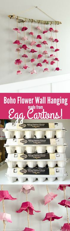 DIY Boho Flower Wall hanging tutorial made with egg cartons. Great way to reuse empty egg cartons! Cheap + easy DIY home decor