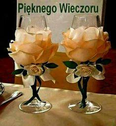 Wedding Glasses By Kittysspot On Etsy - Diy Crafts Wine Glass Crafts, Bottle Crafts, Bottle Art, Wedding Centerpieces, Wedding Decorations, Centerpiece Ideas, Birthday Decorations, Wine Glass Centerpieces, Valentine Decorations