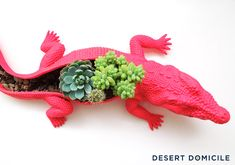 Cute idea spray paint a toy slit it open and fill with succulents.