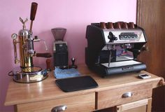 What a set up! A manual Elektra, Baratza, and a La Spaziale espresso machine. Some of our best products on one bar!