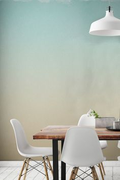 Afraid of painting your walls one block colour? You don't have to take the risk with this beautiful ombre wallpaper design. Sumptuous yet subtle, this design brings together a pastel blue with soft yellow tones. It's perfect for creating a calming atmosphere in your home, and looks stunning in dining room areas.