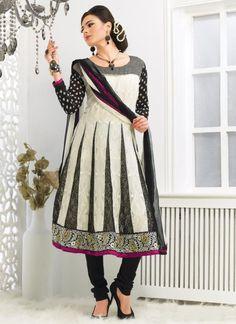 Black Cream Churidar Salwar Kameez - Wafafashion.com