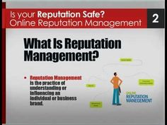 Is Your Reputation Safe? Online Reputation Management help make people and businesses look their best on the internet. To accomplish this people need to control their online search results because they frequently contain inaccurate, misleading or outdated material which can adversely affect a business. #YoutubeMarketing