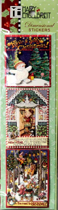 This is a Punch Studio Mary Engelbreit Christmas Holiday Season Dimensional Stickers pack. These stickers are great to embellish cards, tags scrapbook pages or can be used on any other project. Just p