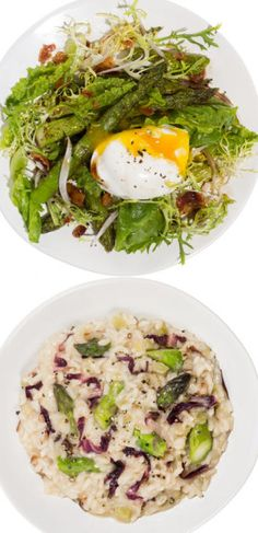2 Recipes: Asparagus Salad With Bacon and Poached Egg + Asparagus and Radicchio Risotto