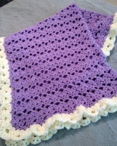 Baby Blanket with Ruffled Edges | AllFreeCrochetAfghanPatterns.com