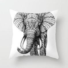 Ornate Elephant Throw Pillow by BioWorkZ | Society6 http://wanelo.com/p/3027909/ornate-elephant-throw-pillow-by-bioworkz-society6#