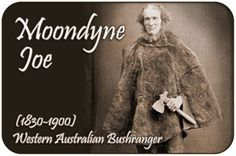Famous Moondyne Joe This is the only known photograph of Joseph Bolitho Johns better known as the Western Australian bushranger Moondyne Joe. It depicts Johns holding a tomahawk and wearing a kangaroo skin cape. History Class, Family History, Australian Bush, People Names, Melbourne Victoria, Maritime Museum, Study Ideas, We Are Family, Modern History