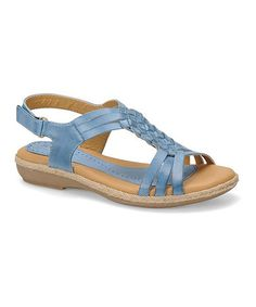 This Powder Blue Sheela Leather Slingback is perfect! #zulilyfinds Would look good with jeans. Super cute.