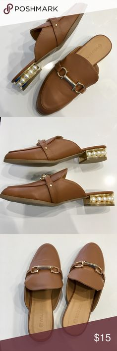 775410e56 Tan pearl loafer slide Tan faux leather loafer slide with a gold pendant  and a faux