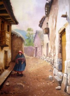 calle del pueblo lucre 1 Diego Rivera, Old Houses, Home Art, Decoupage, Mexico, Drawings, Painting, Inspiration, The World
