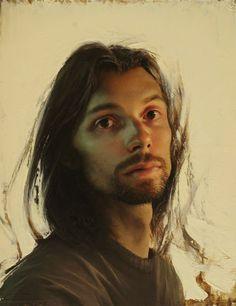 Artist: Daniel Sprick {contemporary figurative male head detailed face portrait painting} <3