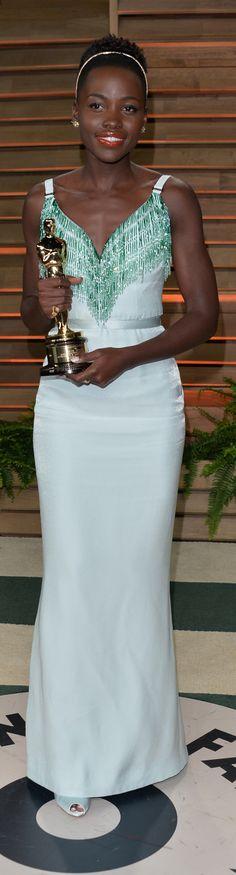 """Lupita Nyong'o - Best Supporting Actress Oscar for """"12 Years a Slave"""" wearing Miu Miu at Vanity Fair Oscar Party 2014"""
