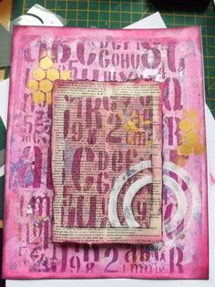 gelli printed frame -- Gelli positioning tool project The idea grew out of my comment that you could use the tool even with smaller paper so long as you attached the small paper to a bigger piece that fit your positioning corners.  As I thought, the frame idea works great, with an interesting added bonus.