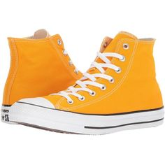 Converse Chuck Taylor(r) All Star(r) Seasonal Color Hi (Orange Ray)... ($60) ❤ liked on Polyvore featuring shoes, sneakers, hi tops, lace up shoes, metallic shoes, converse trainers and lace up high top sneakers