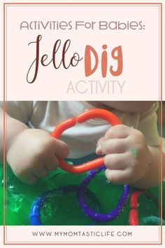 This Jello Dig Activity is a perfect boredom buster for babies and toddlers! My son absolutely loved it! #baby #activities #jello Activities for babies | Activities for toddlers | Activities for 7 month old |