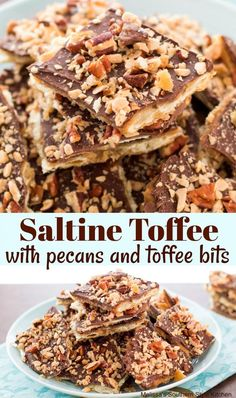 This irresistable Saltine Toffee with Pecans and Toffee Bits is made using crackers that are smothered with warm homemade toffee and chocolate. Homemade Toffee, Homemade Candies, Köstliche Desserts, Delicious Desserts, Dessert Recipes, Health Desserts, Summer Desserts, Holiday Baking, Christmas Baking