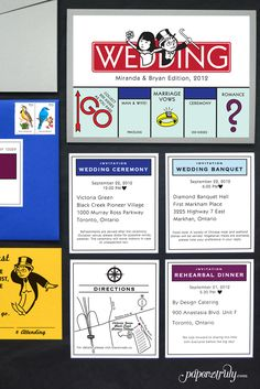 Go directly to the wedding, do not pass go! Inspired by the board game, this suite is full of thematic pieces and custom illustrations that intertwine your story with the classic theme! Best Picture F Board Game Wedding, Wedding Games, Diy Wedding, Wedding Planning, Wedding Ceremony, Dream Wedding, Card Wedding, Wedding Ideas, Wedding Programs