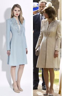 Carole Middleton wears a bespoke version of the 'Rosa Coatdress' by Catherine Walker