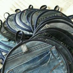 Pot holder made out of old jeans! Use the pocket to make it into a mit!