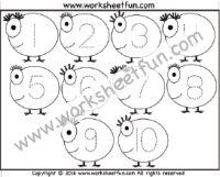 Number Tracing – 1 to 10 – One Worksheet / FREE Printable Worksheets – Worksheetfun Number Worksheets Kindergarten, Letter Tracing Worksheets, Number Tracing, Printable Preschool Worksheets, Numbers Preschool, Tracing Letters, Free Preschool, Preschool Activities, Free Printables