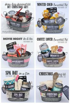 A git in a tin: Christmas Baking Kit. This DIY Gift Basket idea comes with printable labels and tags that you can use to make your handmade gift extra special. Cheap Christmas Gifts, Diy Holiday Gifts, Christmas Gift Baskets, Homemade Christmas Gifts, Christmas Baking, Homemade Gifts, Diy Gifts, Christmas Diy, Christmas Present Basket Ideas