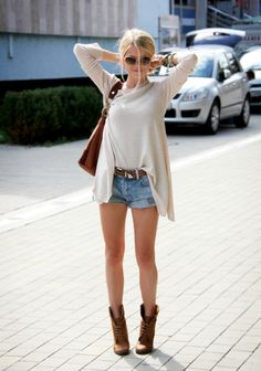 ankle boots + jean shorts + flowy top