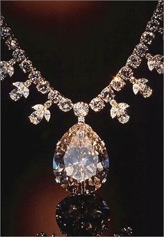 Victoria-Transvaal Diamond The dazzling pendant of this diamond and gold necklace is the 68-carat, champagne-colored Victoria-Transvaal diamond, which was discovered in South Africa in 1951. From the gem and mineral collections of the Smithsonians National Museum of Natural History.