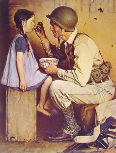 A Soldier and little girl painting