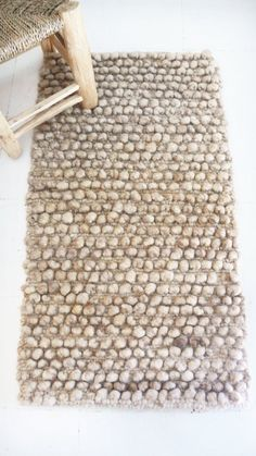 Image of Small Handwoven Wool Rug Beige-Brown