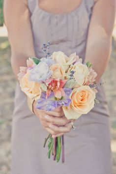 Dreamy Wine Country Wedding with a Pastel Peach and Lavender Palette | OneWed