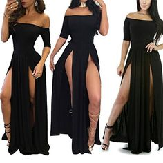 Moxeay Women Sexy Off Shoulder High Slit Nightclub Cocktail Party Long Dress