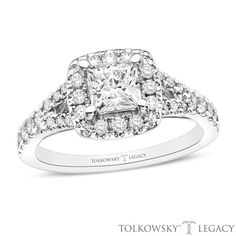Tolkowsky®+Legacy+1-1/4+CT.+T.W.+Certified+Princess-Cut+Diamond+Frame+Engagement+Ring+in+14K+White+Gold+(I/SI2)
