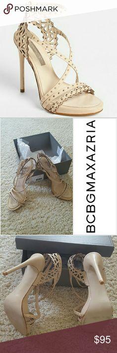 "SALE BCBG Runway Powder Esra Laser Cut Sandals Chic and sexy NEW  never worn BCBG Maxazria Runway Powder Esra Laser Cut Sandals - 4""heel BCBGMaxAzria Shoes Sandals"