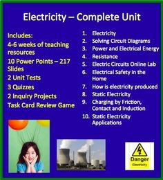 The Unit Package includes a complete lesson set for a complete Electricity unit. The unit will save you 30% compared with purchasing each included product separately.  Included in the package: - 5 weeks of teaching material - 10 Power Points totalling 217 slides - 2 Electricity Production Projects - 2 Unit Tests  - 3 Quizzes - Electricity Task Cards Review Game - AND MUCH MORE  Please click to download a free preview.