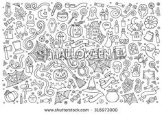 Sketchy vector hand drawn Doodle cartoon set of objects and symbols on the Halloween theme