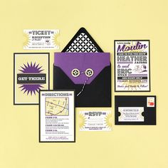 Retro Vintage Poster-Style Wedding Invitation by Pretty Together with Die Cut Ticket RSVP.