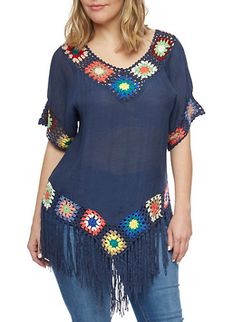 Short Sleeve Top with Crochet and Fringe Trim,NAVY. (If I make this, the colours will definitely be more subtle.)