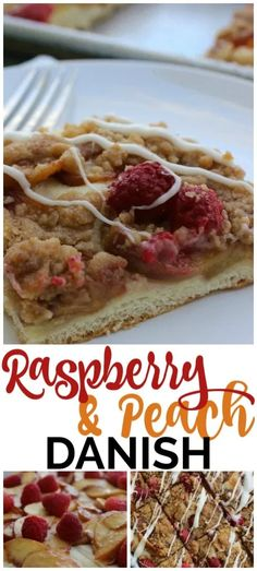 Easy Raspberry & Peach Danish filled with peaches & raspberries with a cream cheese drizzle. All the elements of a delicious pastry with fewer simple steps. Cinnamon Cream Cheese Frosting, Cinnamon Cream Cheeses, Breakfast Dishes, Breakfast Recipes, Frozen Bread Dough, Danishes, Pastry Blender, Raspberries, Peaches