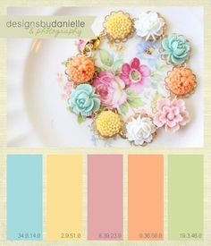 Danielle Hendrickson Design and Photography: Color Inspiration - Vintage Spring Color palette for a kids room maybe Colour Pallette, Colour Schemes, Color Patterns, Color Combinations, Easter Colors, Design Seeds, Spring Colors, Spring Color Palette, Spring Flowers