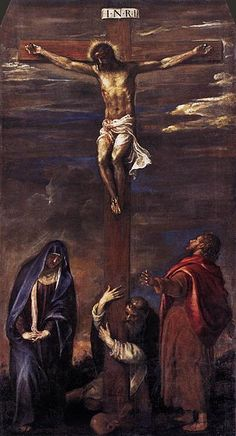 Titian 1558 Ancona Crucifixion - Depiction of Jesus - Wikipedia, the free encyclopedia Crucifixion Painting, Crucifixion Of Jesus, Republic Of Venice, City Of God, Jesus Christus, The Cross Of Christ, Johannes, Jesus Pictures, Italian Painters