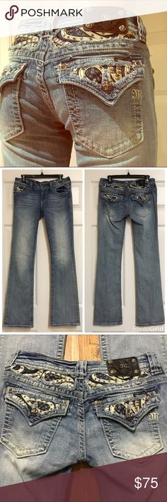 "28x34 Like New Miss Me Jeans Miss Me Jeans - Size 28 with a 34"" inseam. Style # JP6063B2 - worn once, machine washed and hung to dry. No rivets/jewels/etc missing. Like new!! Miss Me Jeans Boot Cut"
