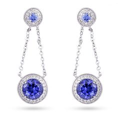 """Get your """"some new"""" and """"something blue"""" for your wedding day with these gorgeous Sterling Silver Chain Link Tanzanite Drop Earrings."""