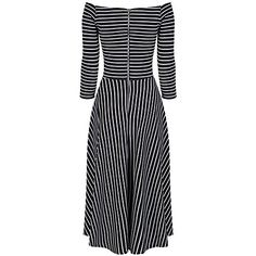 British Pretty Kitty Fashion Bug Black & White 3/4 Sleeve Striped Swing Dress #UK #British #FashionBug #Dress #PlusSize