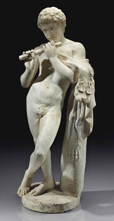 A CARVED MARBLE FIGURE OF A FAUN WITH A FLUTE, AFTER THE ANTIQUE, ITALIAN, 17TH OR 18TH CENTURY