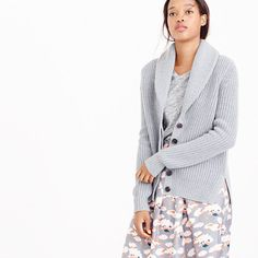 J.Crew - Shawl-collar cardigan sweater Love the shawl collar and the fact that is does not have pockets or a zipper.