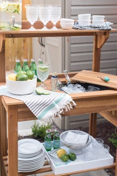 Lowe's Patio Makeover Styled Beverage Station