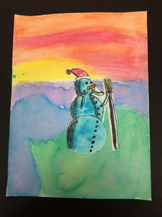 3rd Grade Winter Landscapes | Art Class With LMJ - Unique way to paint with tissue paper. #artsed