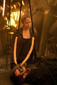 """Jessy Schram as Karen Nadler from the TV Show """"Falling Skies"""". Let's just take a minute to appreciate Karen's face in this picture. VTP"""