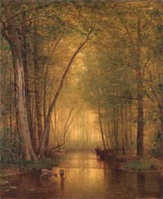 Deer watering, ca 1876, Thomas Worthington Whittredge. American Hudson River School Painter (1820 - 1910)